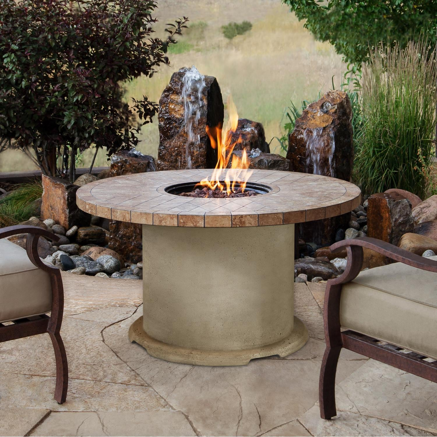Real Flame Ogden 41 Inch Round Propane Gas Fire Table   Sand   Lifestyle