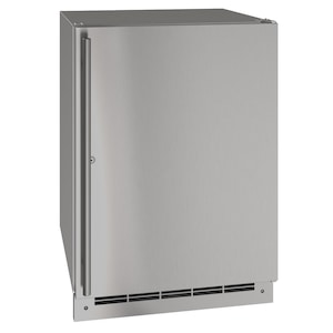 U-Line 24-Inch 5.4 Cu. Ft. Outdoor Rated Solid Door Refrigerator w/ Lock - Stainless Steel - UORE124-SS31A  image