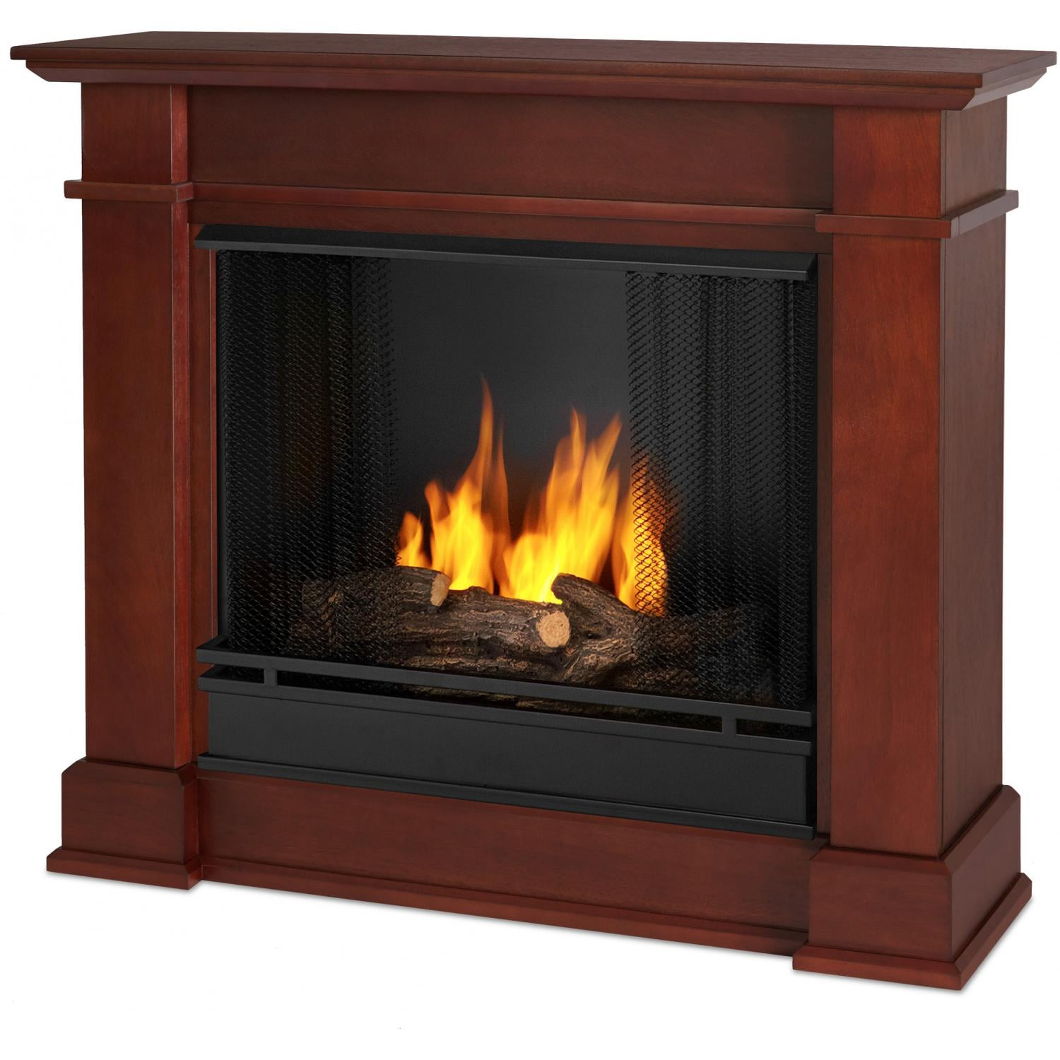 Real flame devin petite 36 inch gel fireplace with mantel for Dark fireplace mantel