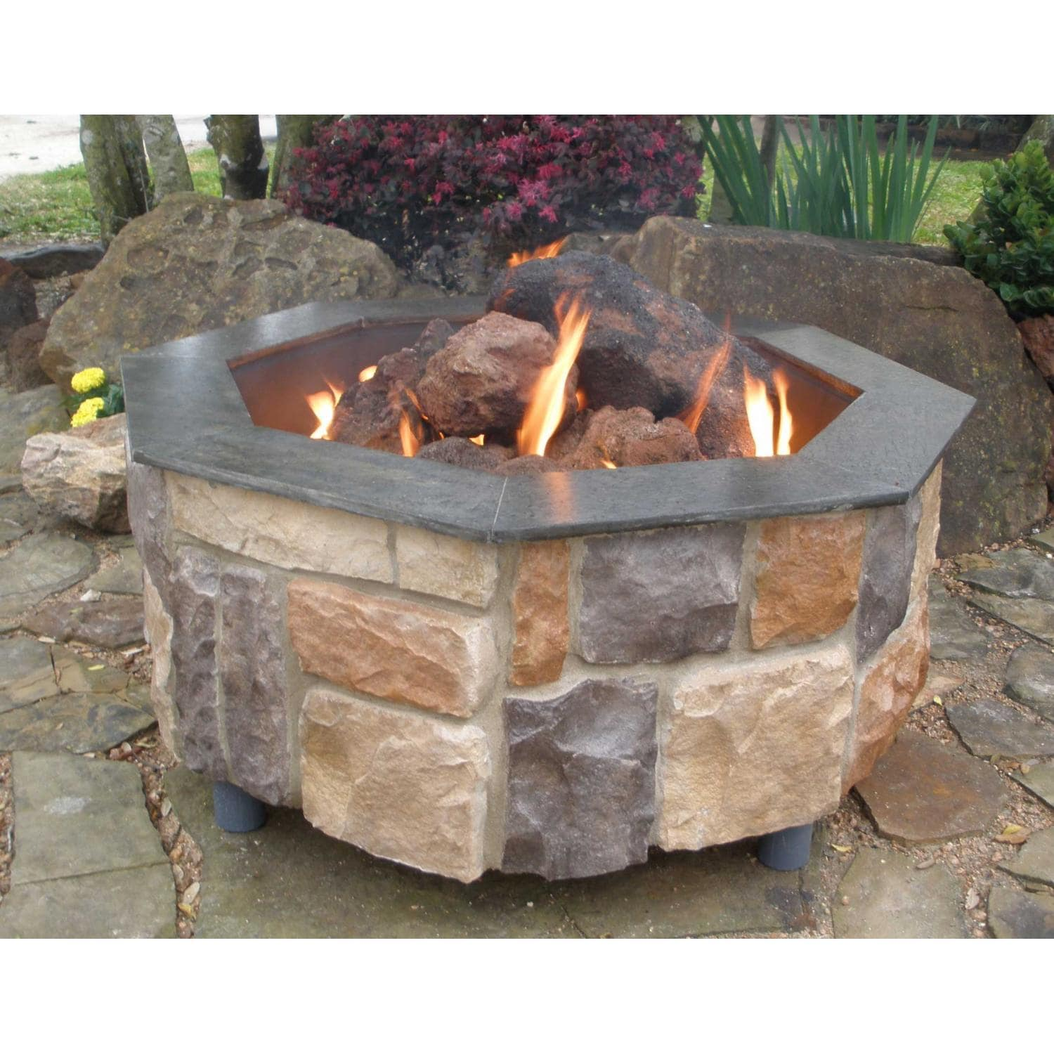 FireScapes Smooth Ledge Octagonal Natural Gas Fire Pit