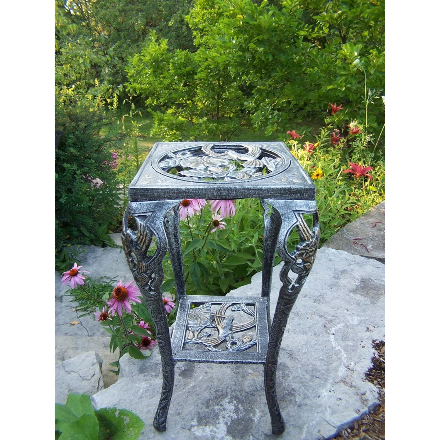 Oakland Living Hummingbird Table Plant Stand   Antique Pewter