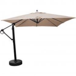 Galtech 10 X 10 Ft. Square Aluminum Patio Cantilever Umbrella W/ Easy Lift And Easy Tilt Wheel - Black Frame W/ Sunbrella Canvas Antique Beige Canopy image