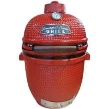 Gourmet Guru Ceramic Kamado Grill On Cypress Wood Vintage Table - Red Gourmet Guru Ceramic Kamado Grill - Red