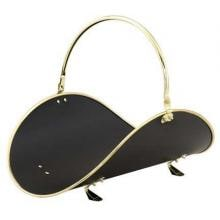 UniFlame Black And Polished Brass Fireplace Wood Basket - W-3326 image