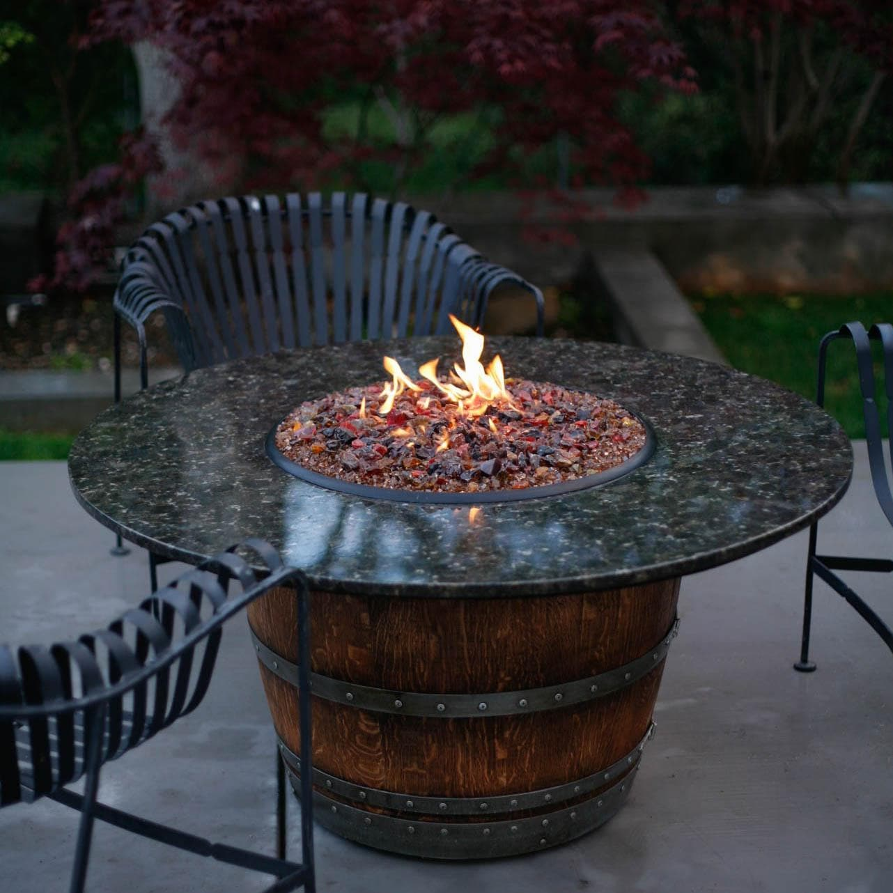 Reserve 60-Inch Wine Barrel Fire Pit Table By Vin De Flame - Dining Height - Reserve 60-Inch Wine Barrel Fire Pit Table By Vin De Flame - Dining