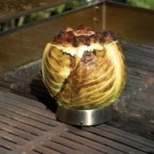 Steven Raichlen Large Stainless Steel Grill Ring With Spike Stuffed Cabbage Grilling On A Steven Raichlen Stainless Steel Grill Ring