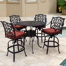 Villa Flora 5 Piece Cast Aluminum Patio Bar Set W/ 42-Inch Round Table & Sunbrella Canvas Henna Cushions By Lakeview Outdoor Designs