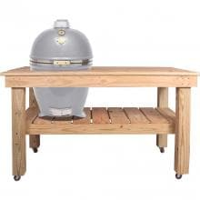 Grill Dome Infinity Series Large Kamado Grill On Cypress Table - Silver Grill Dome Infinity Series Large Kamado Grill On Cypress Table - Silver