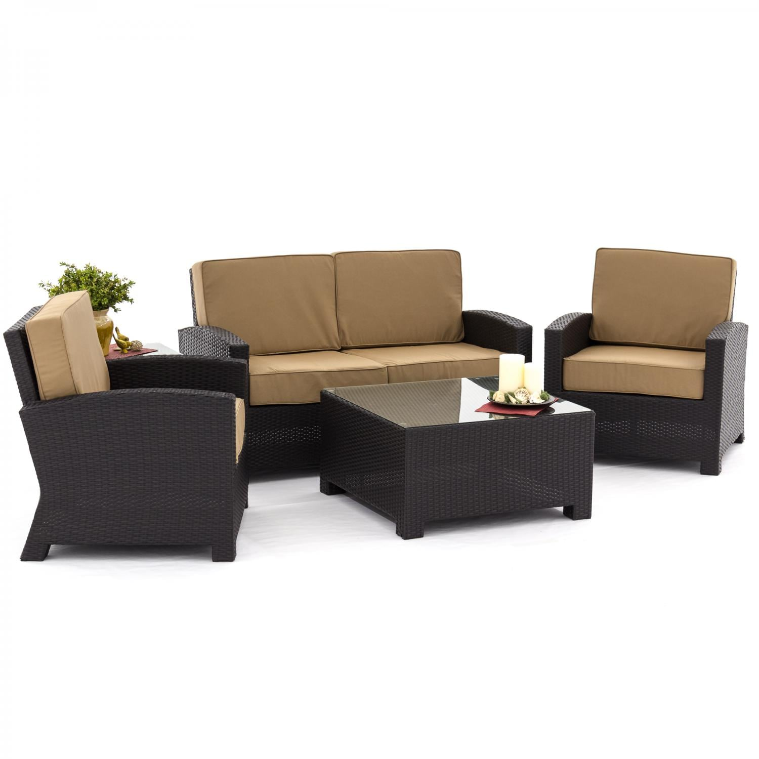 Eden Isle 5 Piece Resin Wicker Patio Deep Seating Set With Loveseat By Lakeview Outdoor Designs