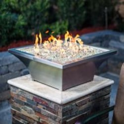 Lakeview Outdoor Designs Lavelle 18-Inch Square High-Rise Natural Gas Column Fire Bowl - Stainless Steel image