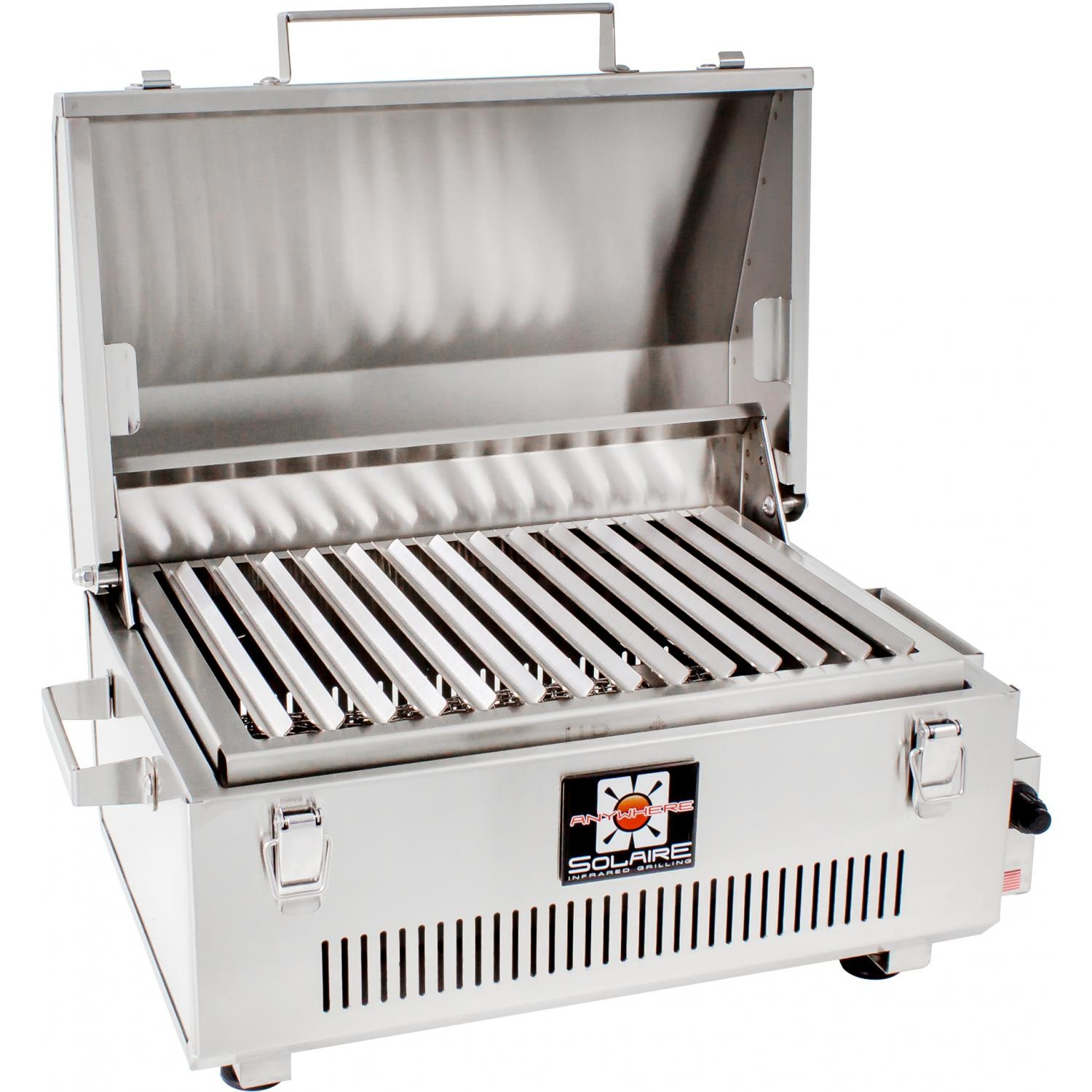 Solaire Gas Grills Go Anywhere 316 Grade Stainless Steel Portable Infrared  Propane Gas Grill   Hood Open Angled View