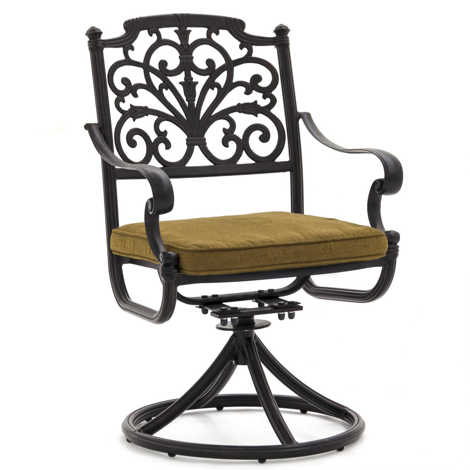Evangeline cast aluminum patio swivel rocker dining chair for Aluminum patio chairs