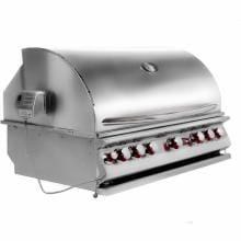 Cal Flame 40-Inch 5-Burner Convection Built-In Natural Gas BBQ Grill With Rotisserie (Ships As Propane With Conversion Fittings) - BBQ15875CN Cal Flame 5 Burner Convection Built In Gas Grill - Side View Closed
