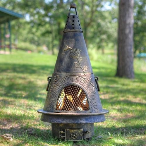 The Blue Rooster Garden Style Cast Aluminum Chiminea With Natural Gas Conversion Kit Gold Accent Bbq Guys