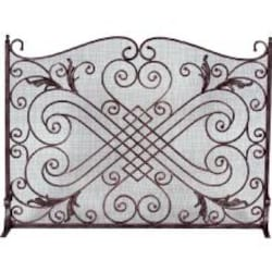 Dagan Industries 44-Inch Arched Panel Copper And Black Wrought Iron Fireplace Screen image