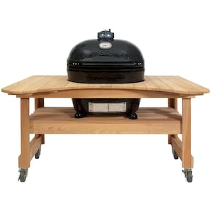 Primo Oval XL 400 Ceramic Kamado Grill On Curved Cypress Table With Stainless Steel Grates - 778 image