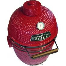 Gourmet Guru Ceramic Kamado Grill On Cypress Wood Vintage Table - Red Gourmet Guru Ceramic Kamado Grill On Cypress Wood Vintage Table - Red - Overhead
