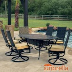 Carondelet 7 Piece Wicker Patio Dining Set W/ 84 Inch Oval Patio Dining Table, Swivel Rockers & Sunbrella Spectrum Sand Cushions By Lakeview Outdoor Designs image