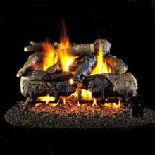 Peterson Real Fyre 24-Inch Charred American Oak Gas Log Set With Vented Propane G4 Burner - Manual Safety Pilot