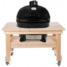 Primo Ceramic Smoker Grill On Compact Cypress Table - Oval Large