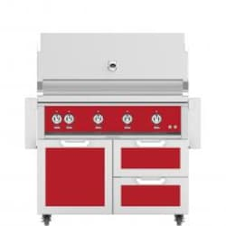 Hestan 42-Inch Propane Gas Grill W/ Rotisserie On Double Drawer & Door Tower Cart - Matador - GABR42-LP-RD image