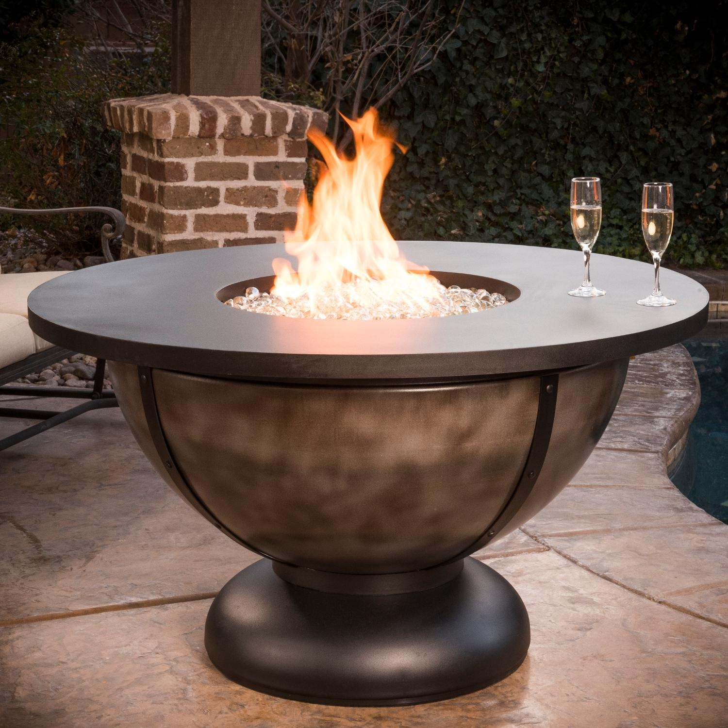 CC Products Onyx Bowl 48 Inch Round Propane Gas Fire Table