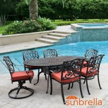 Villa Flora 7 Piece Cast Aluminum Patio Dining Set W/ Oval Table, 2 Swivel Rockers & Sunbrella Canvas Henna Cushions By Lakeview Outdoor Designs image