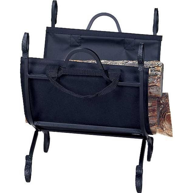 UniFlame Black Wrought Iron Log Rack With Canvas Carrier - W-1118