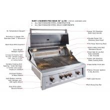 Sunstone Ruby 36-Inch 4-Burner Built-In Natural Gas Grill With Pro-Sear And Rotisserie - Ruby4BIR-NG Sunstone Ruby 36-Inch 4-Burner Built-in Gas Grill - Feature Breakdown