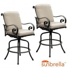 Elysian 2 Piece Aluminum Patio Bar Stool Set W/ Sunbrella Canvas Antique Beige Cushion By Lakeview Outdoor Designs image