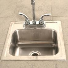 Lion 15 X 15 Outdoor Rated Stainless Steel Sink With Hot/Cold Faucet Lion 15 X 15 Stainless Steel Sink With Faucet - Installed