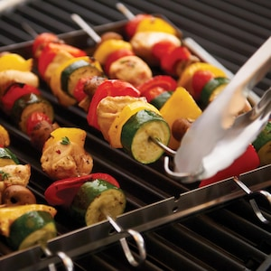 13 X 10-Inch Stainless Steel Folding Shish Kebab & Skewer Set - Set Of 6 image