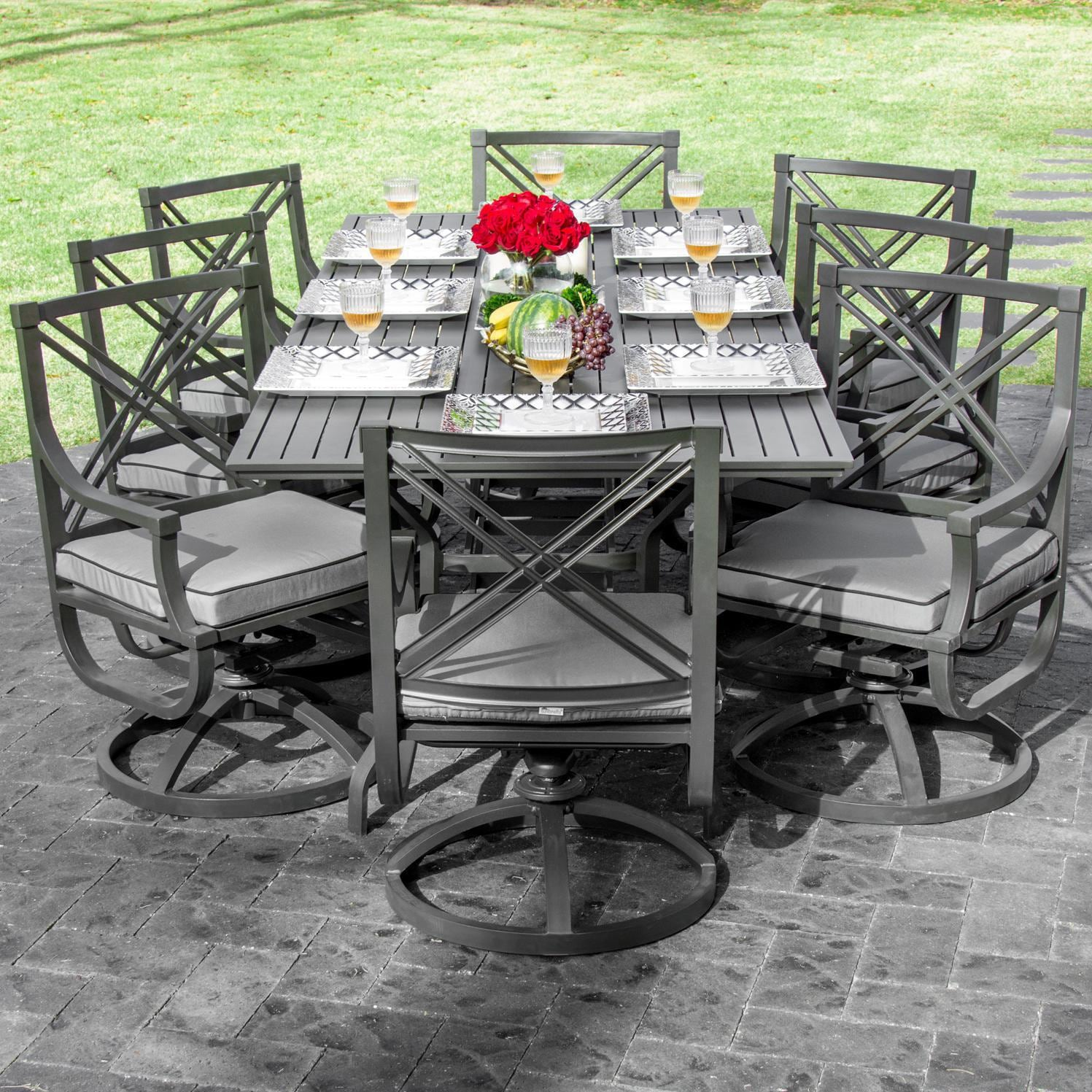 Audubon 8 Person Aluminum Patio Dining Set With Aluminum Table   Alternate  View. Audubon 9 Piece ...