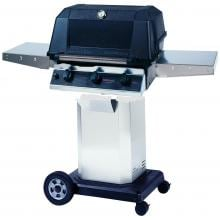 MHP WHRG4DD Freestanding Hybrid Propane Gas Grill W/ SearMagic Grids On Stainless Cart MHP WHRG4DD Freestanding Hybrid Gas Grill With SearMagic Grids