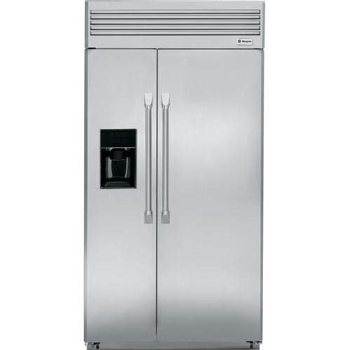 GE Monogram 42 Inch Professional Built-In Side-By-Side Refrigerator With Black Dispenser