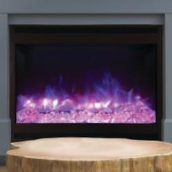 Amantii Zero Clearance 31-Inch Built-In Electric Fireplace with Square Steel Surround - ZECL-31-3228-STL-SQR image