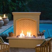 American Fyre Designs 65-Inch Outdoor Natural Gas Arch Stone Firewall - Cafe Blanco