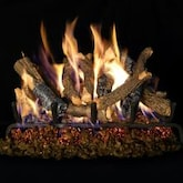 Peterson Real Fyre 18-Inch Charred Oak Stack Gas Log Set With Vented Natural Gas G4 Burner - Match Light
