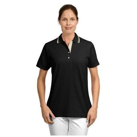 Port Authority Signature Ladies Rapid Dry Contrast Trim Polo Shirt Small - Jet Black/Stone
