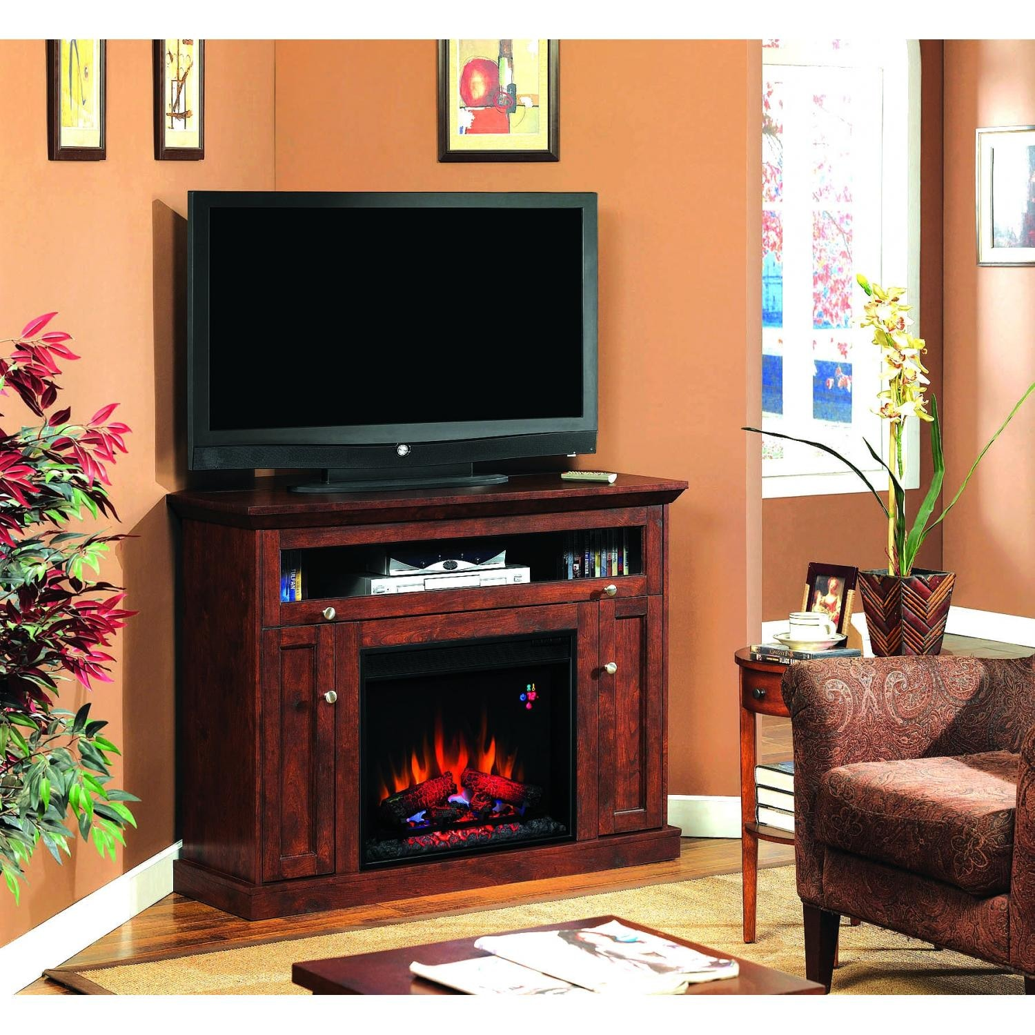 Corner tv stand with electric fireplace ideas corner tv stand with fireplace beautiful corner - Beautiful corner fireplace design ideas for your family time ...