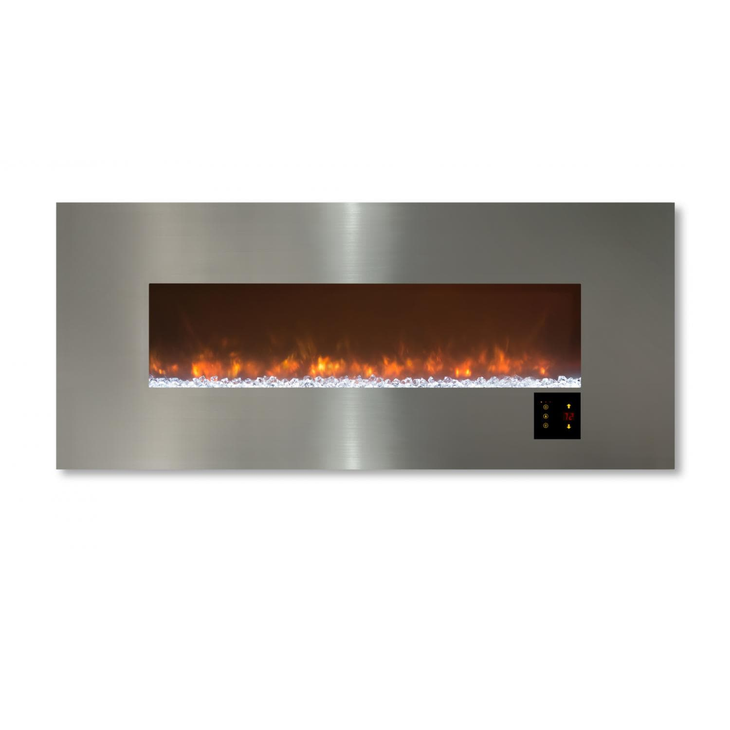 Modern Flames 60-Inch Ambiance CLX2 Electric Fireplace With Stainless Steel  Front - Orange Flames With Glass Media - Modern Flames Ambiance CLX2 60-Inch Electric Fireplace With