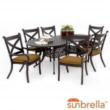 Avondale 7 Piece Aluminum Patio Dining Set With Oval Table By Lakeview Outdoor Designs - Canvas Teak image