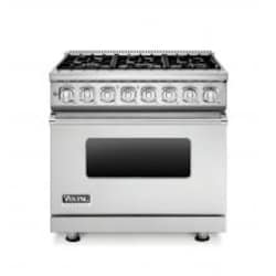 Viking Professional 7 Series 36-Inch 6 Burner Natural Gas Dual Fuel Range - Stainless Steel - VDR7366BSS image