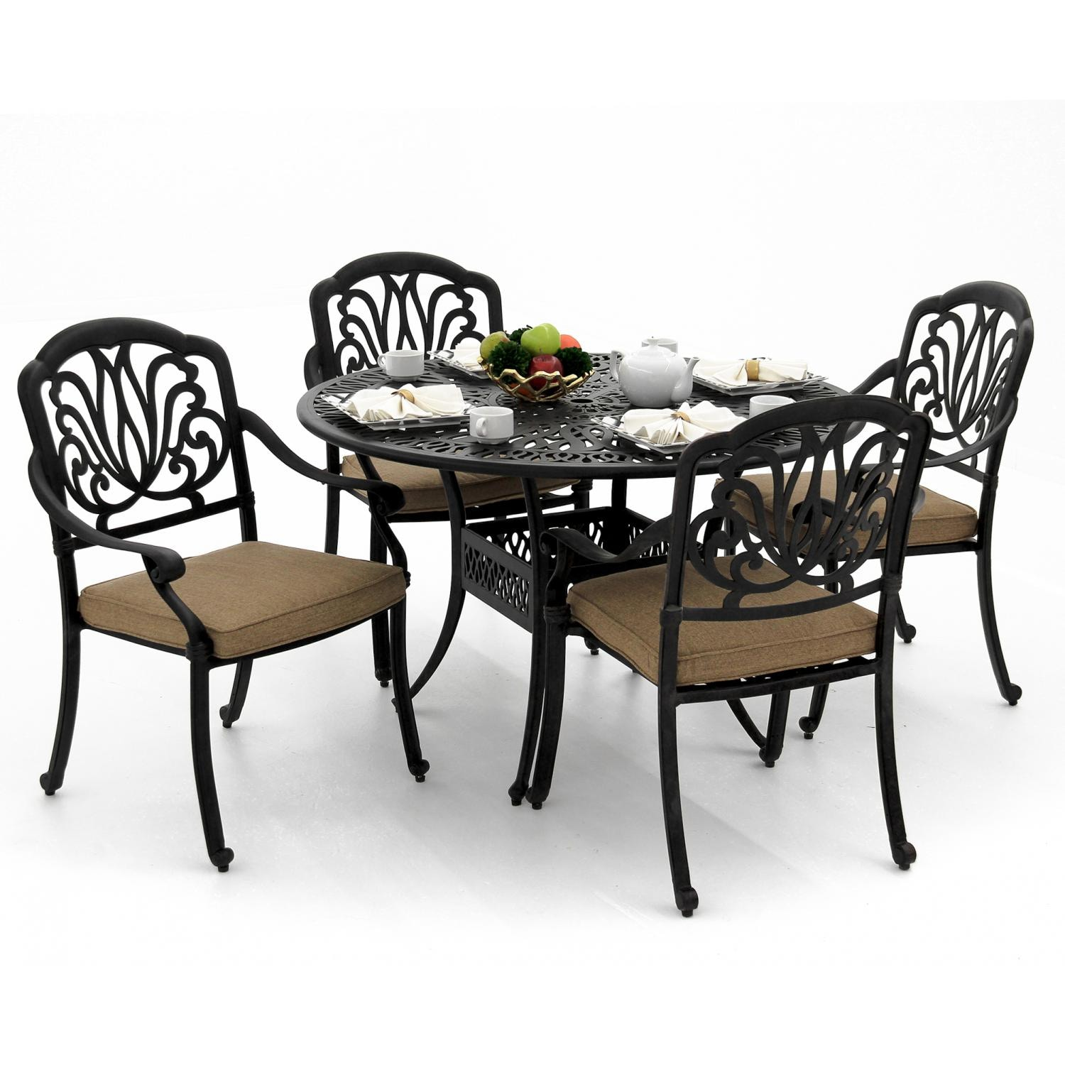 Rosedown 5 Piece Cast Aluminum Patio Dining Set With Round