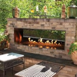 White Mountain Hearth By Empire Carol Rose 48-Inch Vent Free Natural Gas Outdoor Linear See-Through Fireplace W/ Manual Electronic Ignition & LED Light System - OLL48SP12SN image
