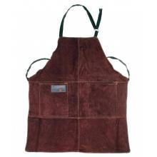 Leather BBQ Apron - Brown Outset Leather BBQ Apron - Full View