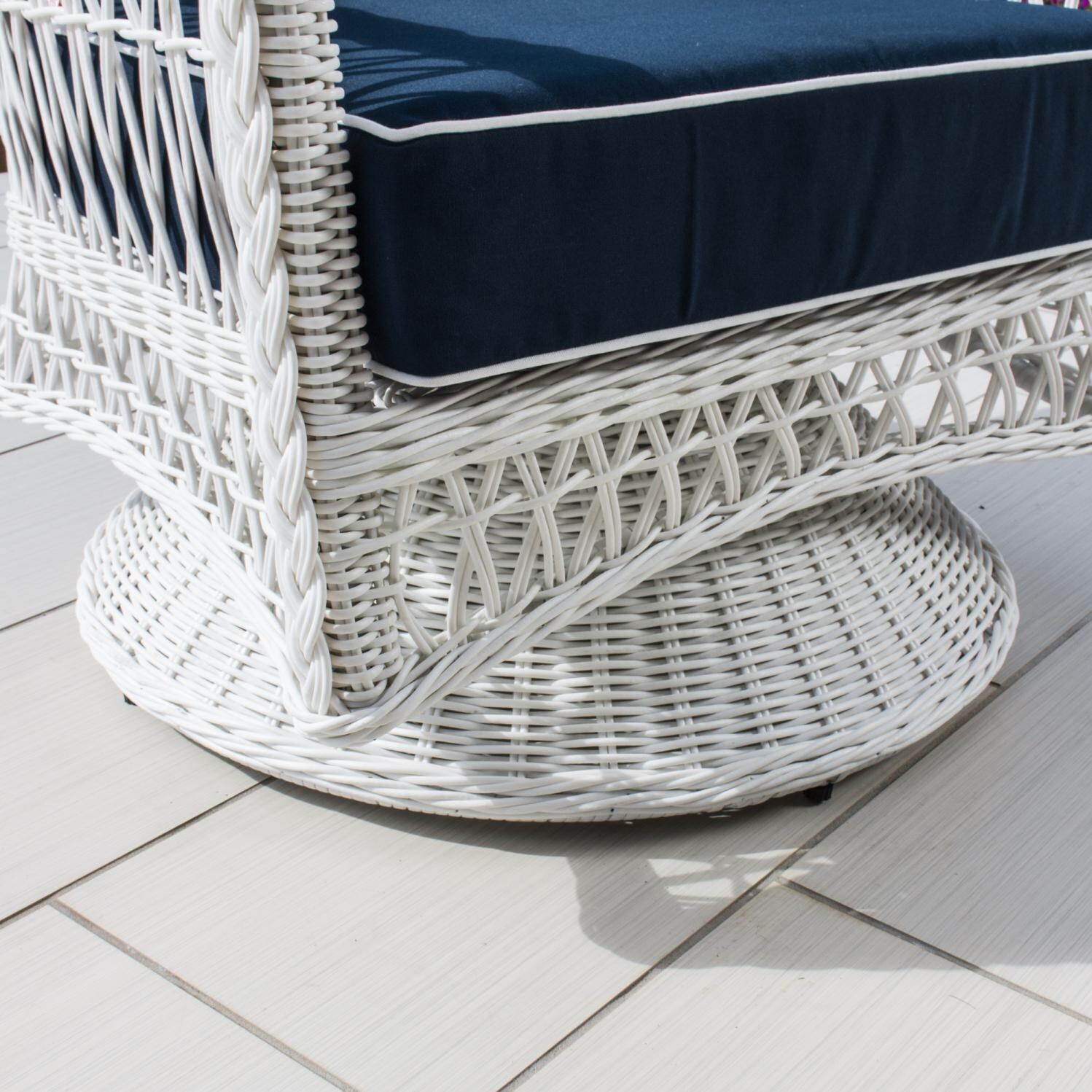 Everglades White Resin Wicker Patio Swivel Club Chair By Lakeview