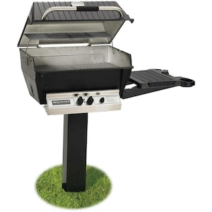 Broilmaster H3 Deluxe Natural Gas Grill On Black In-Ground Post With Black Drop Down Side Shelf image