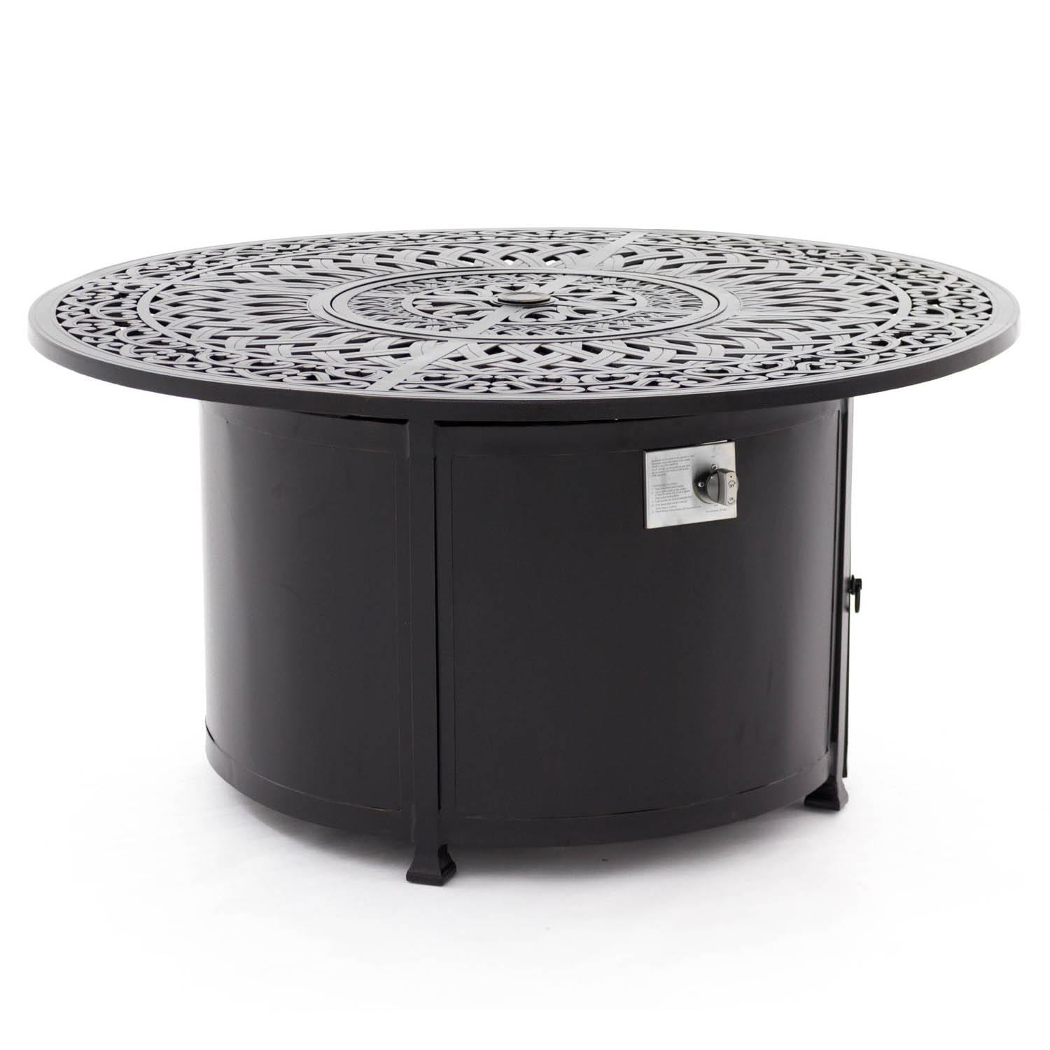 Villa Flora 48 Inch Round Cast Aluminum Patio Fire Pit Table By
