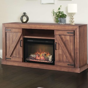 Napoleon Lambert 66-Inch Electric Fireplace Media Console with 27-Inch Cinema Firebox - Rustic Wood - NEFP27-0519RW image